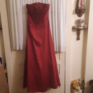 David's Bridal Strapless Red Formal Gown Sz 12